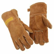 1 Pair Wood Burner Stove Fireplace BBQ Heat Resistant Leather Gloves Gauntlets
