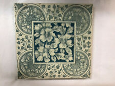 Blue / Green Floral Enclad Art Tile, Arts & Crafts, Art Pottery, 6x6