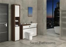 OLIVEWOOD / WHITE GLOSS BATHROOM FITTED FURNITURE WITH TALL UNIT 1700MM