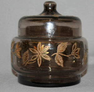 VINTAGE EUROPEAN CLEAR GLASS GILDED FLORAL POTBELLY JAR POT BOWL WITH LID