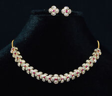 Certified Natural 6.5CTS VS F Diamond Ruby 18K Solid Gold Necklace Earrings Set