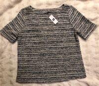 Ann Taylor Loft Rainbow Tweed Short Sleeve Top Blouse Career Casual Small New