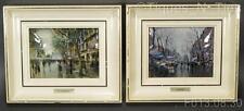Pair 2 Vintage Curved Laminated Litho Framed Prints J. Amat & R. Llimona (Gg)