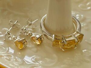 Citrine & White Topaz Ring & Earrings Sterling Silver set Sz. 6 NEW Estate