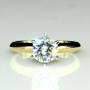 2ct Diamond Round cut Solitaire Band Engagement Ring Solid 14K Yellow Gold Over