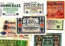 LOT 8 BILLETS DIFFERENTS Allemagne GERMANY  MARK 1914 - 1923 BON ETAT