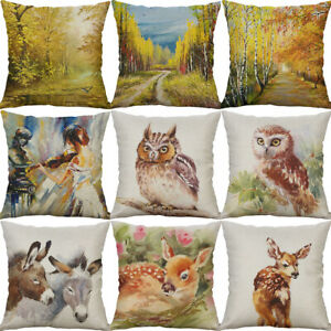 """18"""" Cotton Linen forest Owl Deer Printing pillow case Home Decor Cushion Cover"""