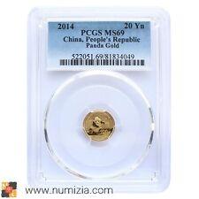 CHINA 20 Yuan 2014 Panda 1/20 onza de oro (MS69) Certificada PCGS