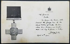 Malta George Cross And Citation Postcard N.W.M.A. Collection Unused