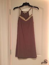Brown Dress With Beaded Accent To Neckline Size Medium CP