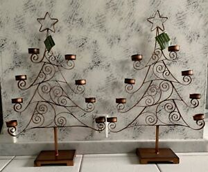 2 Woodland Christmas Tree Shape Votive Candle 8 Tea Light Holder Decoration New