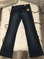 Parkers Jeans Womens Dark Washed Suede String Lace Side Denim Jeans Size 13/14