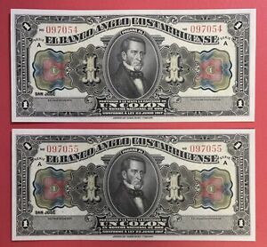 Costa Rica Lot Of 2 Notes x 1 Colones L.1917 Pick#S121r Choice UNC. PL1086
