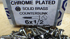 "40 x 1/2"" x 6 CHROME PLATED ON BRASS COUNTERSUNK HEAD WOOD SCREWS SCREW SLOTTED"