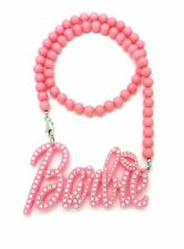 """WOMENT'S ACRYLIC PINK BARBIE PENDANT & 8mm 18"""" BEAD CHAIN FASHION NECKLACE"""
