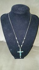 Michal Negrin Swarovski Crystal Victorian Turquoise Cross & Chain- New