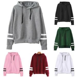 Womens Casual Hooded Loose Ladies Blouse Long Sleeve Sweatshirt Hoodies Tops UK