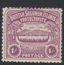 Solomon Islands 1907 SG7 1/- bright purple Canoe Mounted mint