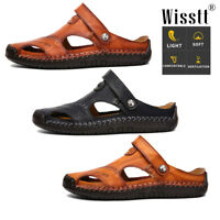 Men's Summer Genuine Leather Sandals Casual Closed Toe Beach Sandals Flat Shoes