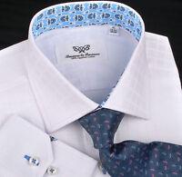 Classic White Formal Business Dress Shirt Geometric Plaids & Checks Blue Floral