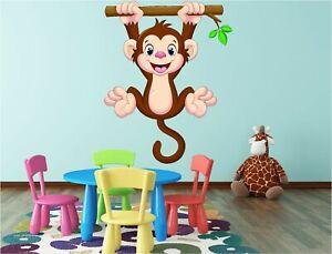 Hanging Monkey Kids Cheeky Wall Art Sticker Decal Fun Bedroom Nursery Vinyl P2J