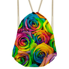 Shoulder Backpack Women Drawstring Bags Floral Designs School Purse Bookbags