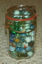 Vintage Mason Jar - Filled with Vintage Cats Eye Marbles - Un-searched