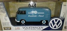 VW Bus Type 2 Volkswagen T1 Delivery Van Diecast 1:24 Motormax 8in Blue TEXT