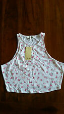 Miss Shop White w pink roses crop top sz14 BNWT free post D82