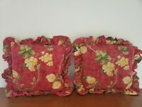 Pair of 2 Waverly Ruffled Mistral Red Yellow Green Grape Throw Pillows 16x16 in