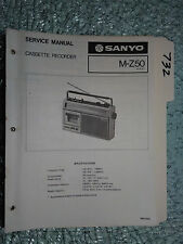 Sanyo M-Z50 service manual original repair book stereo boombox radio tape deck