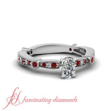 Ruby Gemstone Milgrain Style Ring Pave Set With 3/4 Carat Cushion Cut Diamond