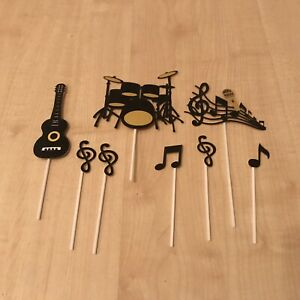 GUITAR DRUMS CAKE TOPPERS DECORATIONS 8 MUSIC BRAND NEW CRAFT ART MIC UK SELLER