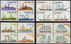 SHIP = BOAT = VESSEL = COMPLETE SERIES of 4 se-tenant blocks Canada 1975-78 MNH