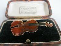Vintage Signed Fish Gold Plated Cloisonne Enamel violin Instrument Brooch Pin