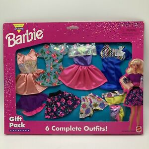 Vintage 1995 Barbie Gift Pack 6 Complete Outfits Dresses Shoes NOS