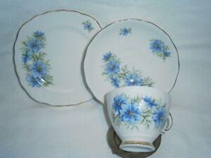 VINTAGE COLCLOUGH RIDGWAY POTTERIES ENGLAND BLUE FLORAL CUP SAUCER & PLATE TRIO