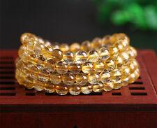Genuine Natural Gold Rutilated Quartz 108 Beads Wealth Bracelet 7mm AAA