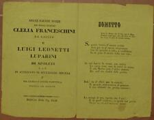 SONETTO MATRIMONIO CLELIA FRANCESCHINI CASCIA LUIGI LEONETTI LUPARINI SPOLETO