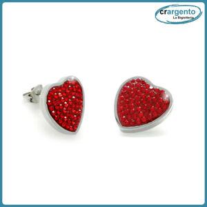 orecchini donna cuore a lobo acciaio inox da in con strass bigiotteria rosso per