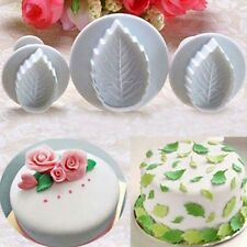 3x Leaf Cookies Cake Fondant Paste Sugarcraft Mold Decorating Plunger Cutter Kit