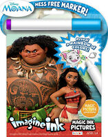 NEW 24pg Disney Moana Imagine Ink Magic Pictures Activity Book, Mess Free