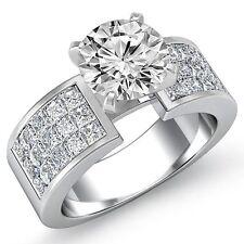 Round Invisible Fine Diamond Engagement Ring GIA F VS1 14k White Gold 2.79ct