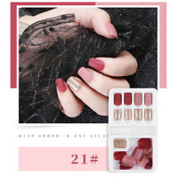 24pcs  French False Nails Art Acrylic Full Cover Tips Manicure Glue NF WF