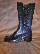 Vtg Women's Plastic Rain Boots Black Retro Groovy Zipper & Lace up Sides  USA