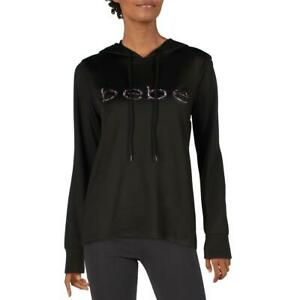 Bebe Sport Women's Terry Floral Print Logo Activewear Workout Fitness Hoodie