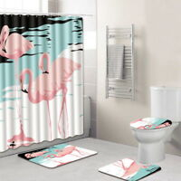 Hot Flamingo Printed Bathroom Shower Curtain + 2X Floor Mats + Toilet Seat Cover