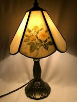 Vintage Tiffa- Mini with Flower Motif Lamp. Meyda Signed.