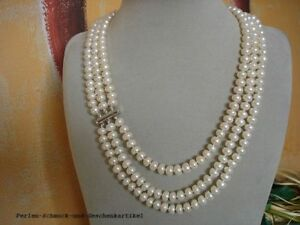 Echte Perlen dreireihige Kette Weiß geknotet 55cm, Verschluss 925er Silber