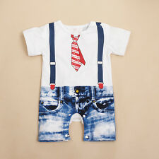 Baby Boys Kids Newborn Infant Overalls Romper Shorts Bodysuit Outfit Clothing US